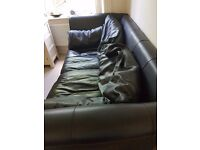Chunky Black Leather 2/3 seater Sofa ** FREE**