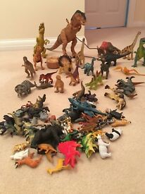 Toy dinosaurs and animals
