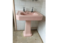 Vintage Art Deco Sink with Pedestal