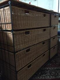Wicker drawers