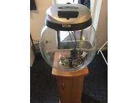Aquael globe fish bowl and base unit with accessories ( pump, filter, others)