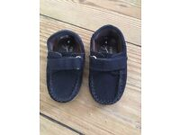 New Next Signature Size 4 Infant Boys Suede Leather Loafers Shoes