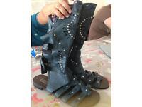 Dark blue studded laser cut design summer sandals