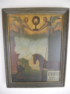 altes Votivbild Exvoto, 2 Engel mit Monstranz, Pferd, Votant, Votivtafel, 1725