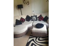 Corner sofa and storage pouffe