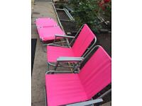 2x foldable chairs and sun lounger
