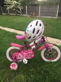 "GIRLS FAIRY PRINCESS 12.5"" BIKE WITH MATCHING HELMET GOOD CONDITION £30"
