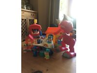 Happyland bundle including plane and airport, dinosaur, beach hut and school house with characters