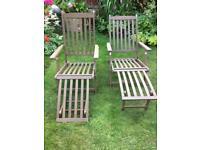 Garden wooden steamer chairs x2 in very good condition.£60