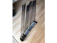 Set of Mitsushiba golf clubs, bag & trolley
