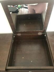 Dark wood dressing table with fold down mirror