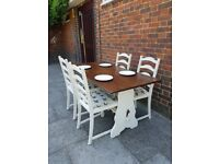 Vintage refectory dining table + 4 palm tree chairs. Rustic shabby chic farmhouse. LOCAL DELIVERY.