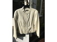 Faux Leather Jacket Beige Zip-Up Ruffle Collar by Revue