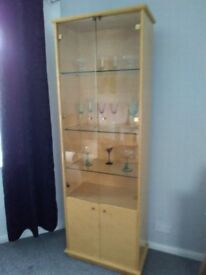 Art Deco style tall glass cabinet