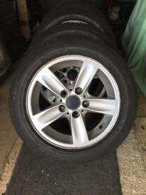 GENUINE BMW 1 SERIES ALLOY WHEELS AND TYRES 5X120 16 INCH ALLOYS