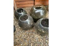 Four large Perspex plant pots (Upcycled Street Globes) reduced to £15