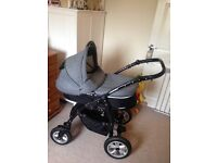 3 Piece Travel System Pram with Carry Cot, Seat, Car Seat and Changing Bag
