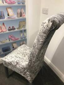 Four grey crushed velvet dining chairs