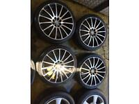 "17"" WOLFRACE ALLOY WHEELS ASTRA, CORSA, CLIO, MEGANE, CIVIC, FIESTA, FOCUS SET OF 4"