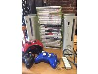 2 Xbox 360's with 4 controllers, and 24 games
