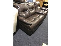 New brown leather two seater and recliner armchair