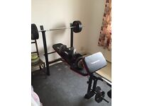 Maximuscle weight bench and weights