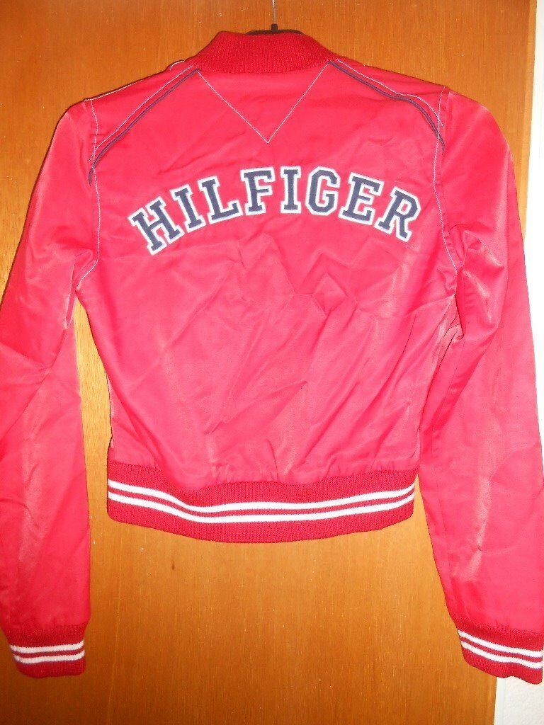 Womens Girls Tommy Hilfiger Red Bomber Jacket Size Xs In