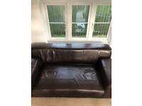 leather sofa quality leather, Brown. LOW PRICE FOR QUICK SALE!