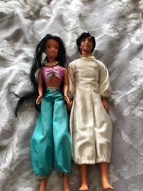 Jasmine and Aladdin dolls - rare