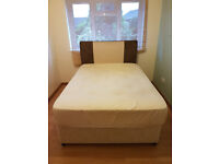 Double divan bed with headboard and mattress. Great condition