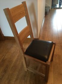 4 Solid Oak Chairs with real leather pads