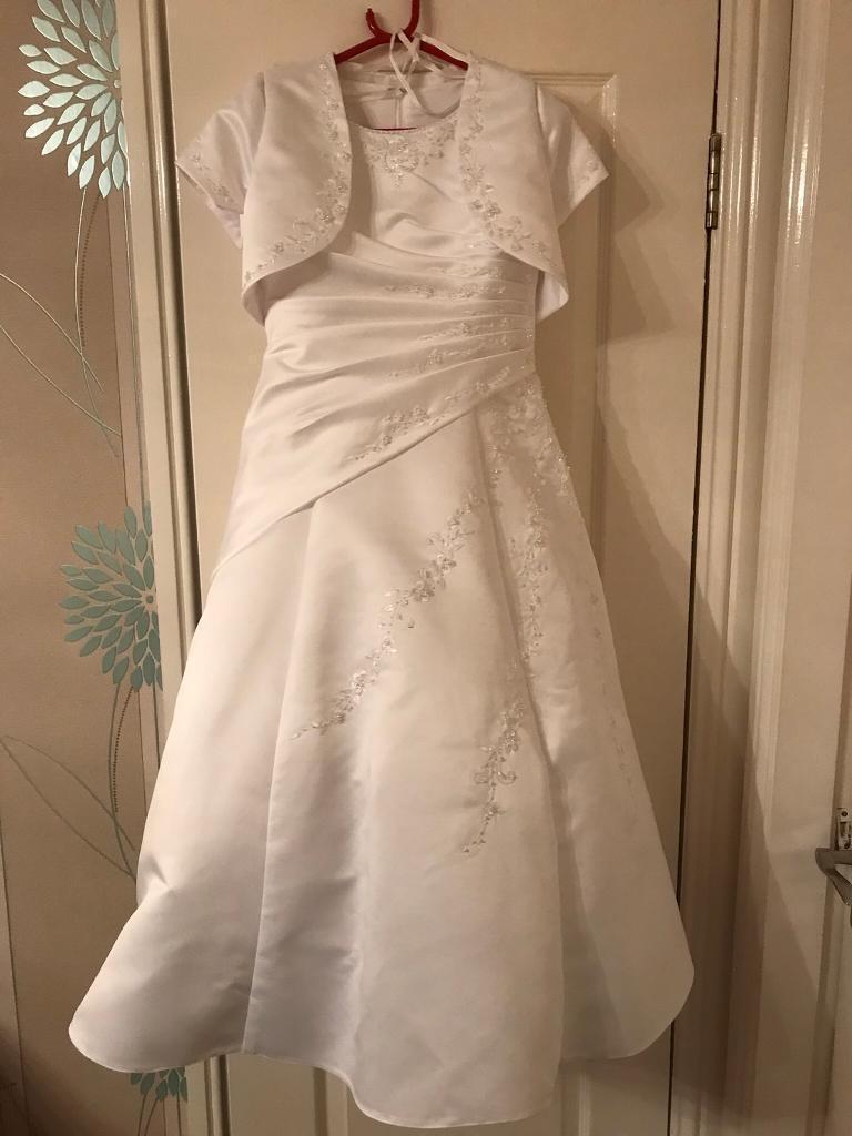 Girls white first communion dress