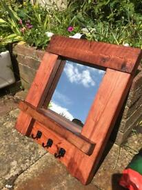 Handmade mirror with hooks