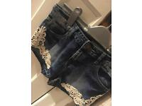 New Look blue shorts with lace detailing age 13