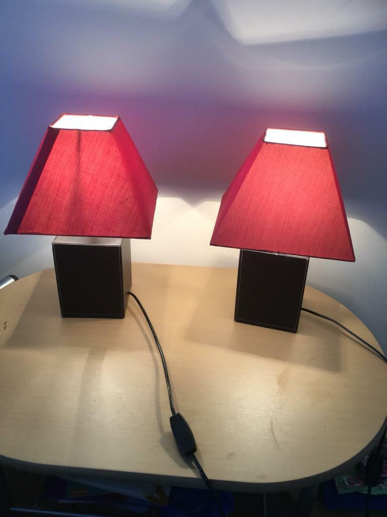 2 leather bedside. Lamps