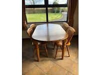 Ducal solid pine extendable dining table and 4 chairs