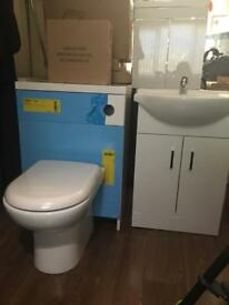 Gloss white wc unit with toilet , seat, cistern, floor stand vanity unit , basin and tap