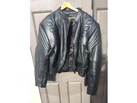 Buffalo Black Leather Motorcycle Jacket For Sale