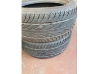 Set of four part worn 17 in tyres
