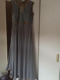 Women's Ice grey/holo Sz 14/42 silver studded beaded ankle length gown style suit