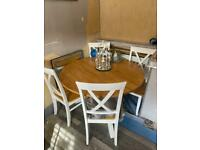 Oak and white table & 4 chairs