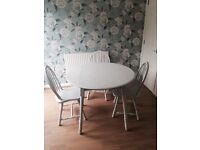 Hand painted in 'winter grey' colour & restored drop leaf table and chairs