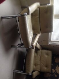 Pieff cream leather and chrome 3 piece suite - in need of restoration