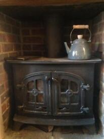 Multi fuel log burner with back boiler and stove pipe