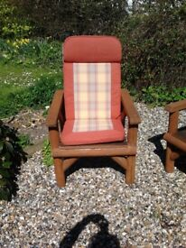 Chunky wooden garden chairs x 4