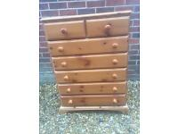 Solid pine chest of drawers. Dovetail Joints.