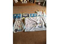 Boys cot bed coverlet, bumper and nappy sack