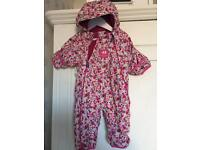 Jojo Maman Bebe Waterproof Fleece Lined All In One / Snowsuit girls 0-3 months