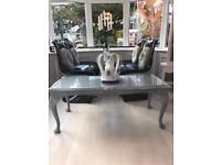 Beautiful oak grey glass top long coffee table