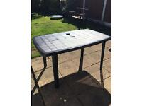 Plastic outdoor table rectangle size